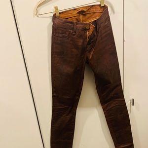 I Brand waxed coated brown skinny jeans